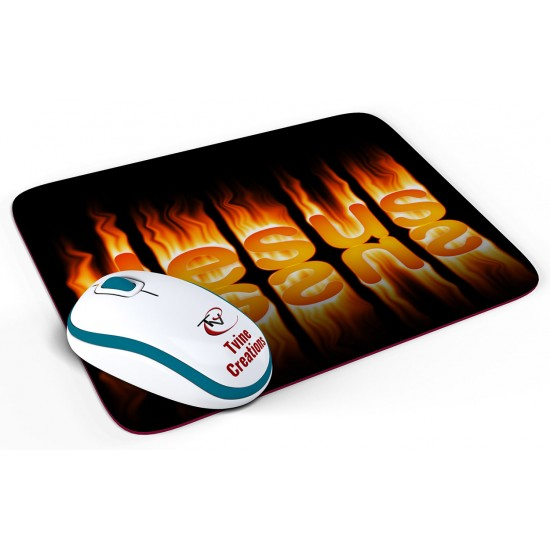 Flaming Jesus - Mouse pad