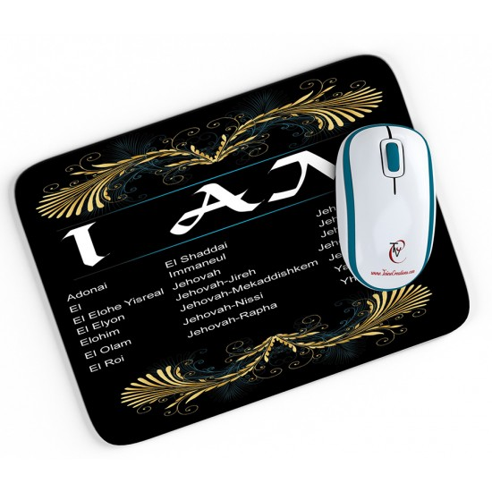 I AM - Mouse pad (Black Background)