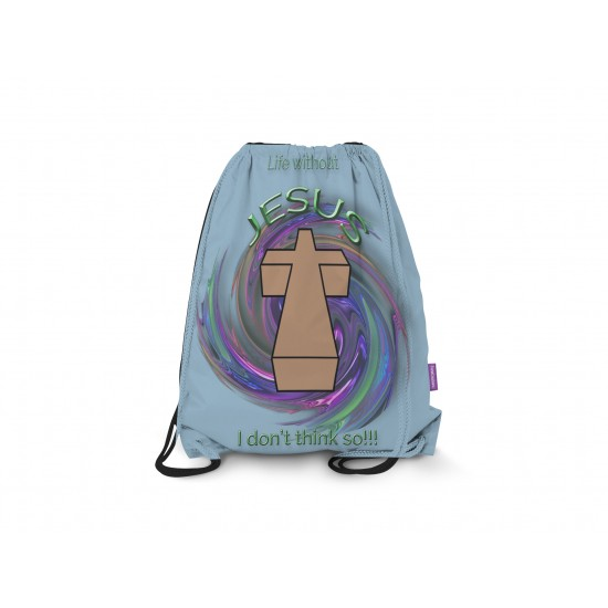 Life without Jesus Drawstring Backpack